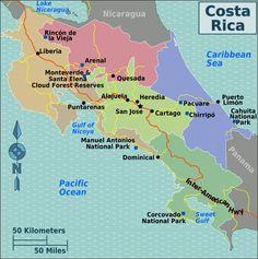 coasta rica | Mappes du Costa Rica dans les Caraïbes : Croisière dans les Caraibes
