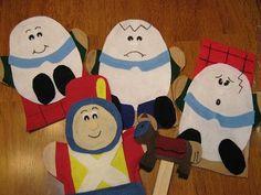 Humpty Dumpty Sat on a wall Felt hand puppets