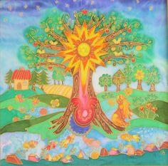 Új élet születése - selyemkép
