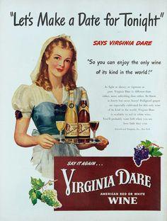 1947 Virginia Dare Red Or White Wine Blonde Waitress Silver Platter Art Print Ad