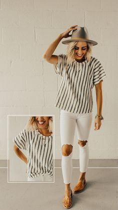 Textured white and grey striped top - ROOLEE