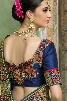 Attractive Blue Embroidered and threadwork handmade Silk saree blouse - blouse designs back neck Best Blouse Designs, Wedding Saree Blouse Designs, New Kurti Designs, Blouse Back Neck Designs, Designer Sarees Wedding, Stylish Blouse Design, Mode Hijab, Marie, Beautiful