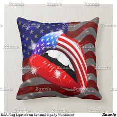 USA Flag Lipstick on Sensual Lips Throw Pillow