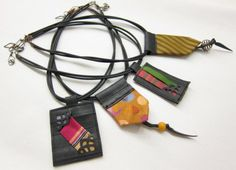 necklaces made from bicycle innertubes, neckties & found fabrics