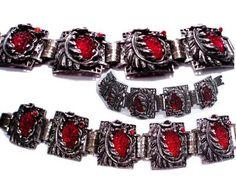 Vintage bracelet Art Nouveau bracelet  RED by vintagesparkles, $145.00