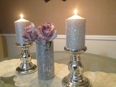 Items similar to Wedding BLING Pillar Candle and Candle stick holder on Etsy