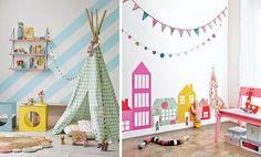 Яркие рисунки на стенах в детской, выполненные акриловыми красками