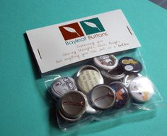 """Our new packaging! Featuring our 1"""" pins, you can order custom pins by visiting our store: http://shop.bayleafbuttons.com/category/1-pinback-buttons"""