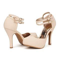 375dde82982d Women s High Heel Pumps Classy Mary Jane Double Ankle Strap Almond Toe
