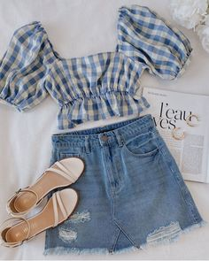 There are 4 tips to buy skirt, shoes, jewels, top. Cute Girl Outfits, Girly Outfits, Cute Casual Outfits, Pretty Outfits, Stylish Outfits, Summer Outfits, Girls Fashion Clothes, Teen Fashion Outfits, Cute Fashion