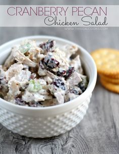 Homemade Cranberry Pecan Chicken Salad. Sandwich it between your favorite bread or eat it with your favorite crackers.