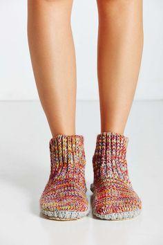Mixed Stitch Knit Slipper Sock