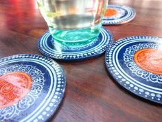 Blue coasters from Turmeric hands