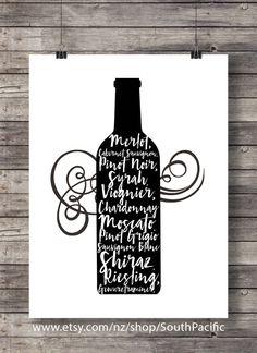 Digital art | Types de vin | impression d'art noir et blanc minimal | bouteille de vin imprimable | Bar à Champagne vin amoureux cadeau panier signe Merlot, Cabernet Sauvignon, Pinot Noir, Syrah, Viognier, Chardonnay, Muscat, Pinot gris, Sauvignon Blanc, Shiraz, Riesling, Gewurztraminer Achetez 2 Obtenez 1 code coupon gratuit: FREEBIE FAIT AVEC AMOUR ♥ 16 x 20 impression, facilement redimensionnée à 8 x 10 et fin à imprimer au format A3 ou A4 ____________________________ Imprimer autan...