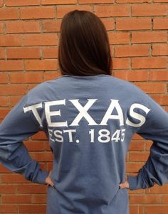 Show your state pride with our Comfort Colors jersey with Texas state emblem on front and TEXAS Est. 1845 on back. Pigment color dyed long