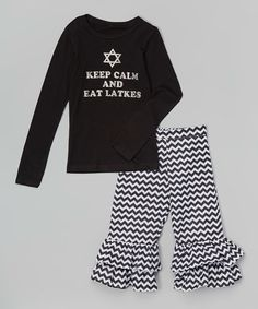 This Black 'Eat Latkes' Tee & Ruffle Pants - Infant, Toddler & Girls by Beary Basics is perfect! #zulilyfinds