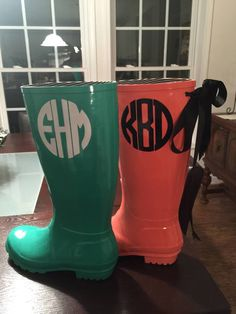 A personal favorite from my Etsy shop https://www.etsy.com/listing/223841006/personalized-rubber-rain-boots-rain