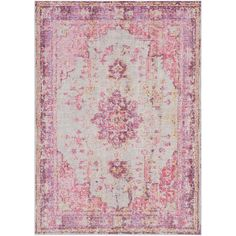 Bungalow Rose Kahina Vintage Distressed Oriental Bright Pink Area Rug Rug Size: Runner x Trellis Design, Machine Made Rugs, Bright Pink, Pink Light, Throw Rugs, Carpet Runner, Runes, Vintage Floral, Vintage Rugs