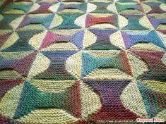 Описание работы: 1. Вязание блоков. Для каждого блока вам понадобится пряжа двух контрастных цветов.