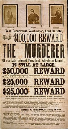Broadside advertising reward for capture of Lincoln assassination conspirators, illustrated with photographic prints of John Surratt, John Wilkes Booth, and David Herold