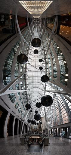 Allen Lambert Galleria by Santiago Calatrava at Brookfield Place, panorama shot, Toronto, ON © Sam Javanrouh
