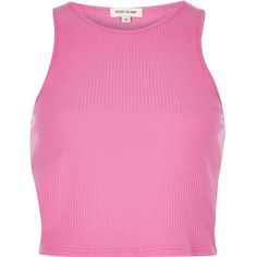 River Island Pink '90s ribbed crop top ($8.48) ❤ liked on Polyvore featuring tops, sweaters, ribbed crop top, rib sweater, crop top, crewneck sweater and crew sweater
