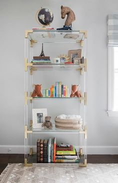 Boy Nursery with Lucite Bookcase, Transitional, Nursery
