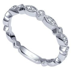 Genesis Designs WB4169W44JJ Wedding Ring 14K white gold victorian style wedding band featuring pave-set round brilliant cut diamonds in marquise and diamond shapes along the band.