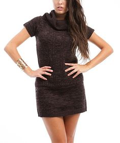 Take a look at this Brown Heathered Cowl Neck Sweater Dress by Buy in America on #zulily today!