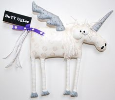 UnicorN Pegasus named Socrates ... Whimsical WaLL Art от buttuglee