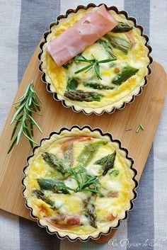 quiche with asparagus, ricotta and mortadella