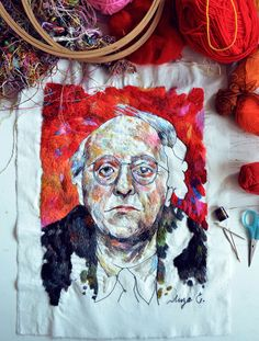 Details in the fabric 🌞 Embroidery artist and illustrator presents a handful of colorful projects – see more at… Hand Work Embroidery, Modern Embroidery, Cross Stitch Embroidery, Thread Painting, Modern Cross Stitch, Textile Artists, Fabric Art, Couture, Fiber Art