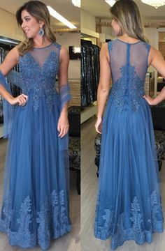 A-Line Crew Floor-Length Blue Tulle Prom Dress with Appliques Beading
