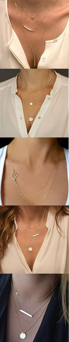 Elegant multilayer necklaces. Looks best with casual blouses. Click on the picture to see more.