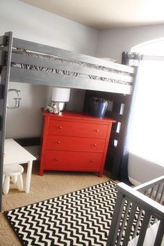 Why couldn't we put the dressers we have under the bunks we have (minus the bottom bunks?)  hmmm.... Boys room. Cool starting place