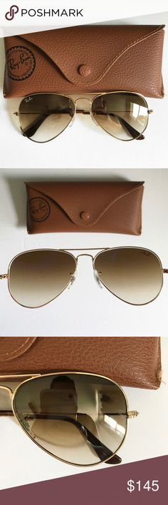 Ray-Ban sunglasses 55 aviator gold brown 3025 Excellent condition. I've taken very good care of them. They've probably only been worn 5 times. No scratches. Comes with case. RB inscription on left lens as shown in pic. Ray-Ban Accessories Sunglasses