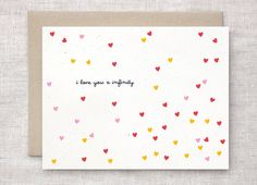 Anniversary Card, Funny - Petite Confetti Hearts, Red, Pink, Marigold Yellow - I Love You X Infinity - Unique, Cute Valentine Card
