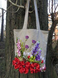 Ruban broderie sac sac à main sac fourre-tout brodé fleurs sac