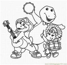 Barney Coloring Pages from Sprout | Kids Activities & Crafts | Pinterest