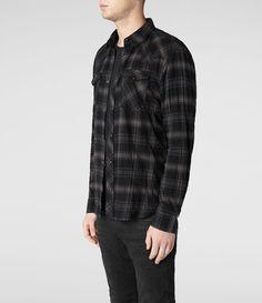 Mens Crowley Shirt (Black Check) | ALLSAINTS.com