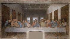 """Title: """"The Last Supper"""". Artist: Leonardo da Vinci. Culture of Origin: Italy. Location: Santa Maria delle Grazie, Milan. Date of Completion: 1498. Size: 181 x 346 in.  Medium: Tempera on gesso, pitch, and mastic. Description: This is one of the most famous paintings in the world. Very little of the original painting remains today, despite many attempts at restoration. The painting represents the scene of The Last Supper of Jesus with his disciples, when Jesus said one of them would betray…"""
