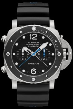 Panerai Luminor Submersible 1950 3 Days Chrono Flyback Automatic Titanio automatic watch, features a titanium case with black ceramic bezel Dream Watches, Fine Watches, Sport Watches, Luxury Watches, Cool Watches, Watches For Men, Latest Watches, Panerai Luminor Submersible, Panerai Watches