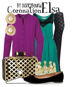 """""""Coronation Elsa"""" by leslieakay ❤ liked on Polyvore featuring Uniqlo, even&odd, Patagonia, H&M, Disney, City Classified, Susan Caplan Vintage, women's clothing, women and female"""