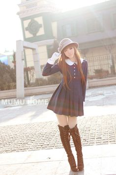 Mango Doll - Round Neck Pleated Woolen Dress, $48.00 (http://www.mangodoll.com/out-of-stock/round-neck-pleated-woolen-dress/)