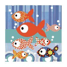 Tableau enfant les petits poissons