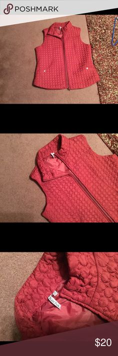 Dark red puffer vest Red puffer vest by Kate Park size 2X. Only wore twice and then I realized that I don't like puffer vests. Smoke and pet free home. The red in the pics are lighter than the actual color. This is more of a darker red. Jackets & Coats Puffers