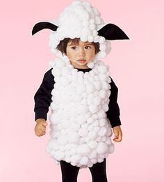 Your little lamb consists of a black shirt,black tights, jumbo cotton balls,and foam fabric ears