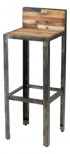 """Tabouret de bar avec dosseret en teck recyclé et métal 95x35x35cm Besi - Tek Import : <a href=""""http://www.tekimport.fr"""" rel=""""nofollow"""" target=""""_blank"""">www.tekimport.fr</a>"""
