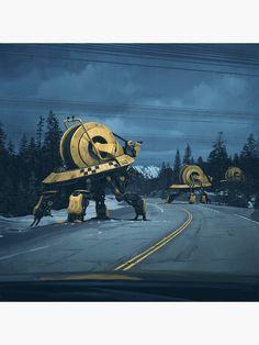 The dark, atmospheric and cinematic science fiction themed paintings of Simon Stålenhag, a freelance digital artist based in Sweden. Arte Sci Fi, Sci Fi Art, Sci Fi Kunst, Science Fiction Kunst, Arte Cyberpunk, Ralph Mcquarrie, Futuristic Art, Retro Futurism, Sci Fi Fantasy