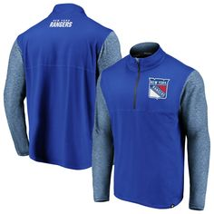 485441590 New York Rangers Fanatics Branded Made to Move Quarter-Zip Pullover Jacket  – Blue